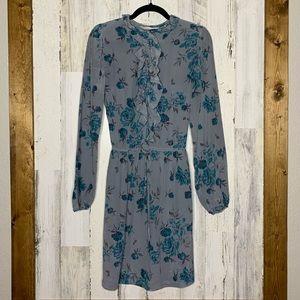 Rebecca Taylor silk drawstring waist dress roses